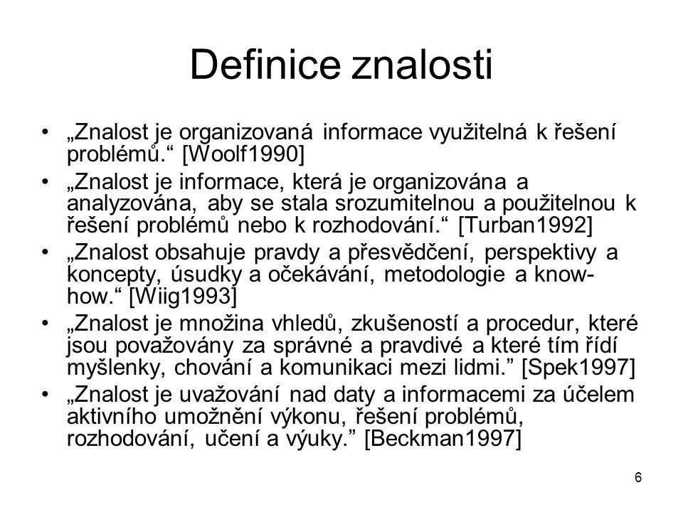 """Definice znalosti """"Znalost je organizovaná informace využitelná k řešení problémů. [Woolf1990]"""